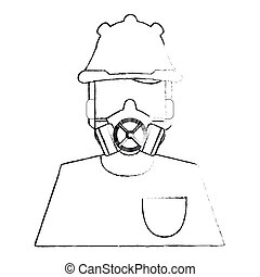 Man with cloth of Industrial security design