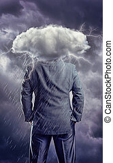 Man with cloud instead of head