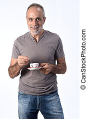 man with coffee cup on white background