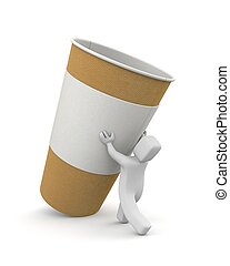 Man with coffee paper cup