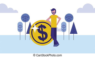 man with coin cash money dollars animation