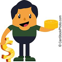Man with coins, illustration, vector on white background.
