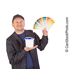 Man with color samples