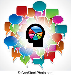 man with colorful speech bubble