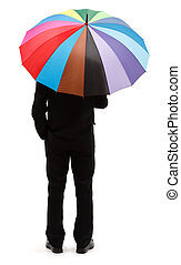 Man with colorful umbrella