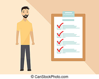 Man with completing checklist on clipboard. Business concept