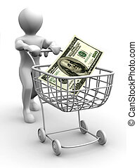 Man with Consumer basket and dollar. 3d