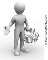 man with consumer basket. 3d