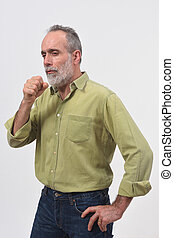 man with cough on white background