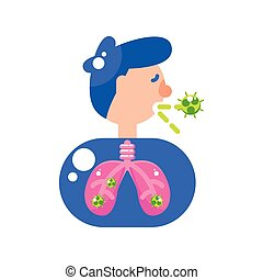 man with covid 19 virus in lungs vector design