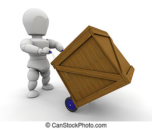 3D render of man moving crate
