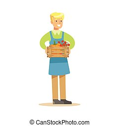 Man With Crate Of Fresh Vegetables, Farmer Working At The Farm And Selling On Natural Organic Product Market