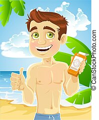 Man with cream for sunburn - young man on the beach with...