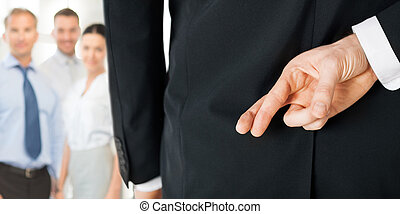man with crossed fingers - bright picture of man with...