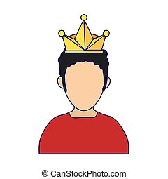 Man with crown avatar blue lines