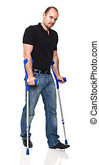 man with crutch isolated on white background