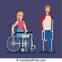 man with crutches and woman sitting in the wheelchair