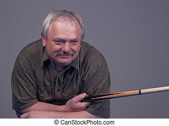 man with cue