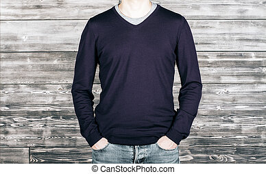Man with dark shirt and jeans - Man wearing dark shirt and...