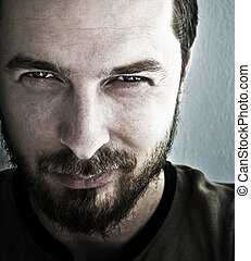 Man with deep sparkling eyes - Closeup portrait of man with ...