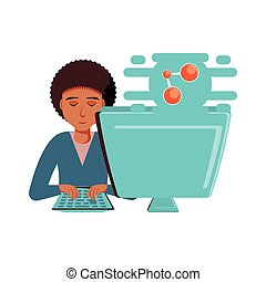 man with desktop computer and share symbol