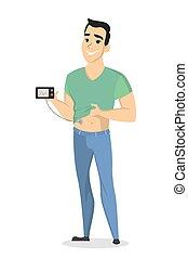 Man with diabetes.