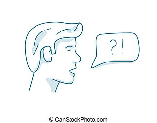 Man with dialog speech bubble, discussion, question and answer concept