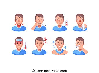 Man with different flu symptoms. Medical character collection. Coronavirus symptoms icon set