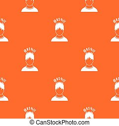 Man with different signs over his head pattern seamless