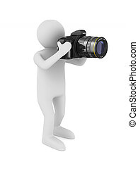 man with digital camera on white background. Isolated 3D illustration