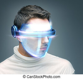 man with digital glasses - picture of handsome man with...