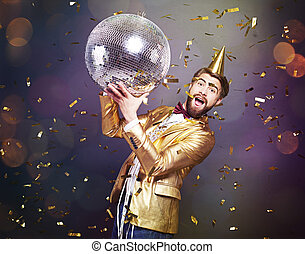 Man with disco ball cheering