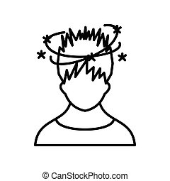Man with dizziness icon, outline style