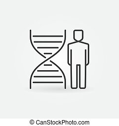 Man with DNA outline vector concept icon