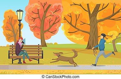Man with Dog and Girl on Bench in Autumn Park