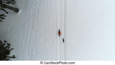 Man with dog cycling on snowy area 4k - Aerial view of man ...