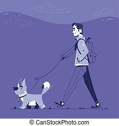 Man with dog flat illustration