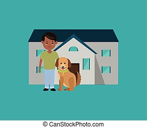 man with dog in front of house image