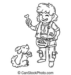 Man with dog. Isolated objects on white background. Cartoon vector illustration. Coloring pages.