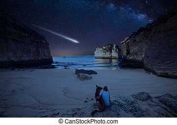 Man with dog looking at Milky Way on the beach