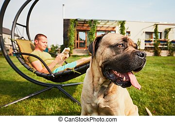 Man with dog on the garden