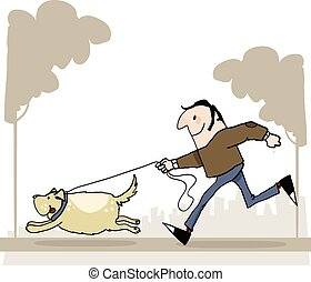 Man with dog running trough park