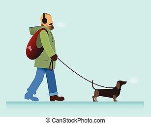 man with dog walking