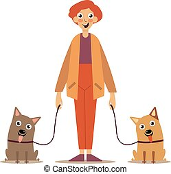 Man with dogs on a leash