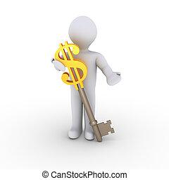 Man with dollar-key