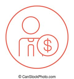 Man with dollar sign line icon.