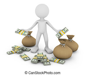 man with dollars - a man with a pack of dollars and bags, 3d...