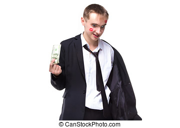 Man with dollars in kisses