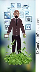 man with dollars on a photo concept of finance