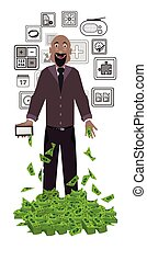 man with dollars on a white background